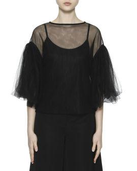 Dropped shoulder tulle blouse