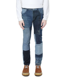 Panelled patchwork jeans