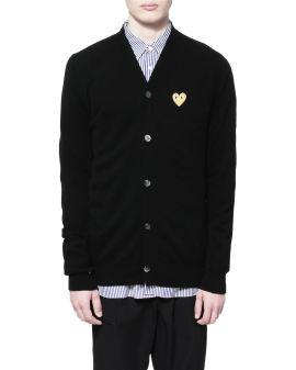 Heart logo wool cardigan