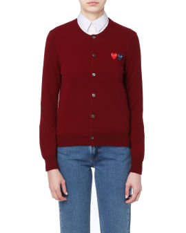 Double heart logo embroidered cardigan
