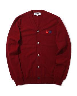 Double heart logo wool cardigan