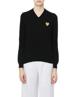 Heart logo knit sweater
