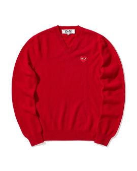 Heart logo V-neck sweater