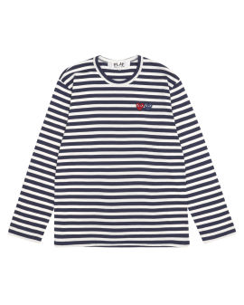 Double heart logo embroidered stripe T-shirt