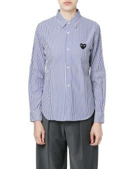 Heart logo pinstripes shirt