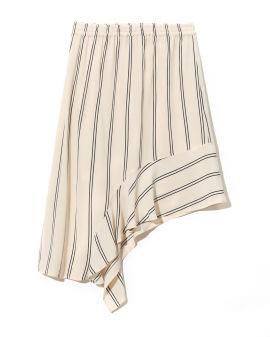 Elasticated waist ssymmetric striped skirt
