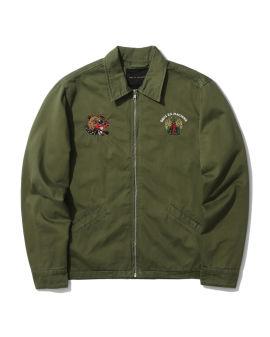 Graphic embroidered zip jacket