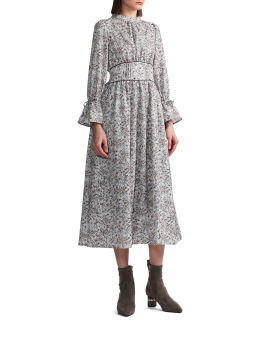 Floral-print panelled dress