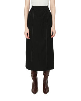 Gathered piped skirt
