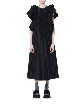 Pinstripe ruffle dress