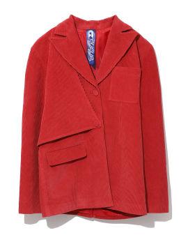Asymmetrical corduroy blazer