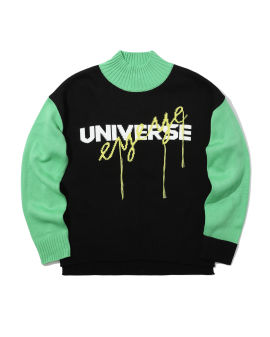 Colour block slogan sweater