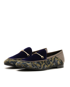 Contrast tweed loafers