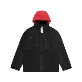 Hooded logo patch jacket