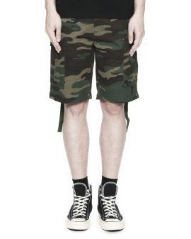 Embroidered camo print cargo shorts