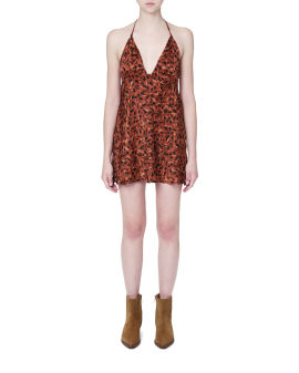 Halter-neck printed dress