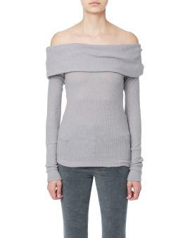 Folded off shoulder knit sweater