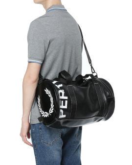 Logo print barrel bag