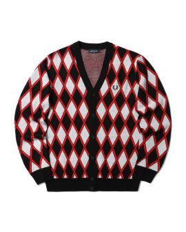 Harlequin diagonal checks cardigan