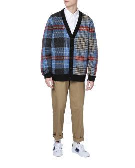 Fluffy tartan cardigan