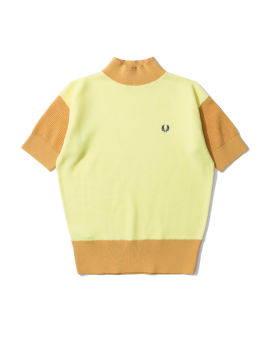 Contrast knit short sleeve sweater