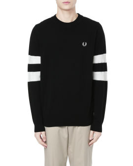 Tipped sleeve crew neck sweater