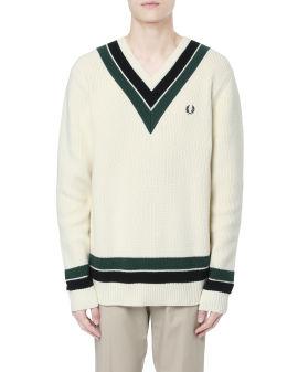Striped neck V-neck sweater