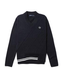Split hem cable knit sweater