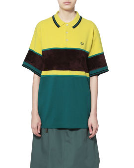 Contrast knit polo shirt
