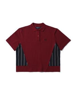 Woven panel polo shirt