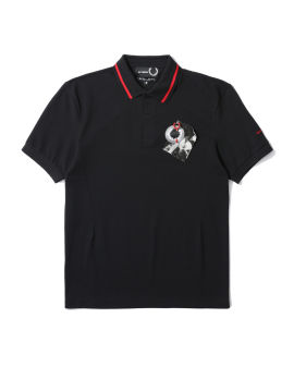 X Raf Simons tipped chest patch polo shirt