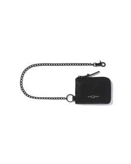 Chained leather zip wallet