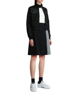 Gingham panel pleated skirt