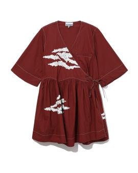Embellished oversized wrap mini dress