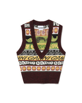Intarsia knit vest
