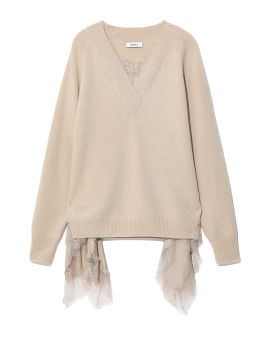 Lace panelled knit
