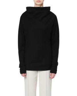 Raised collar sweatshirt