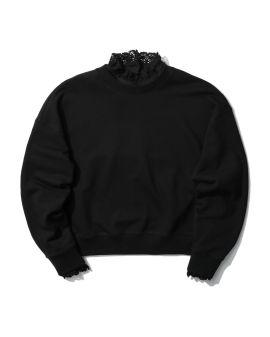 Lace trimmed sweatshirt