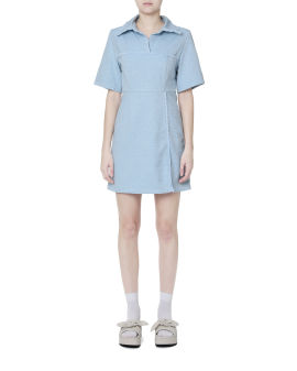 Frayed panel mini dress