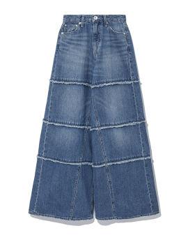 Frayed wide leg jeans