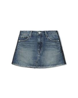 Denim leather mini skirt