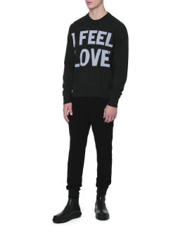 Coloured slogan wool sweater