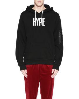 Logo zip pocket sleeve hoodie