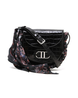 Croc-effect leather crossbody bag with scarf