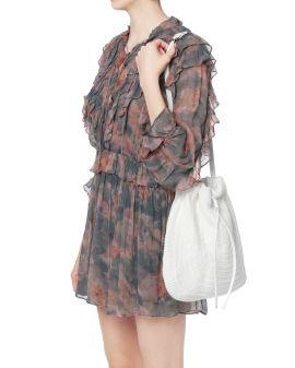 Drawstring knit shoulder bag