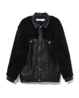 Contrast shearling leather jacket