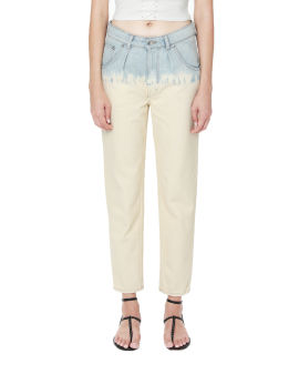Contrast straight-fit jeans