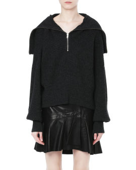 Joanna front zip ribbed sweater
