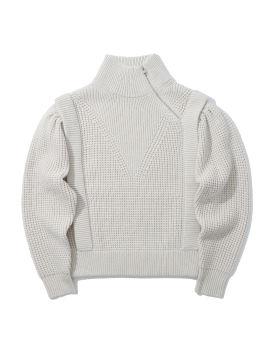 Zip-up turtleneck sweater