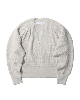 Gathered V-neck sweater